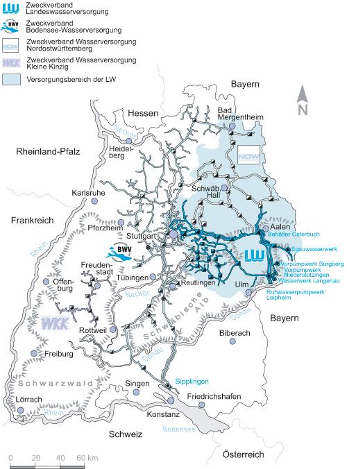bodensee wasserversorgung karte Bodensee  und Landeswasser Versorgung